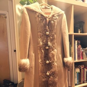 Jackets & Blazers - Vintage Camel Wool & Fur Penny Lane Princess Coat